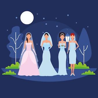 Frauen tragen hochzeitskleid