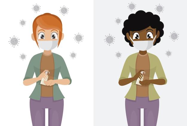 Frauen tragen masken verwenden sie alkoholisches antiseptikum, um die hände zu reinigen und keime und covid-19 zu verhindern