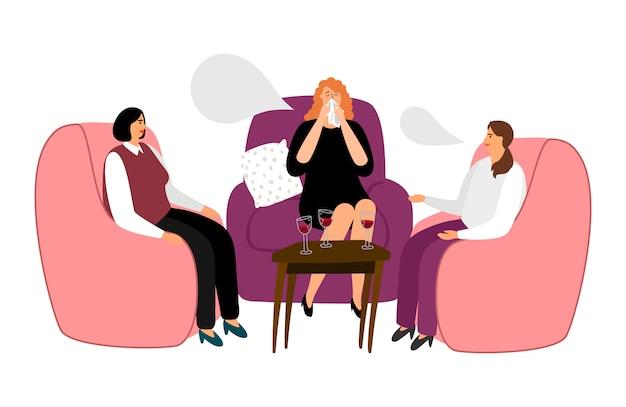 Frauen trinken wein und reden