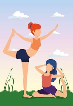 Frauen üben yoga-übungen mit pflanzen