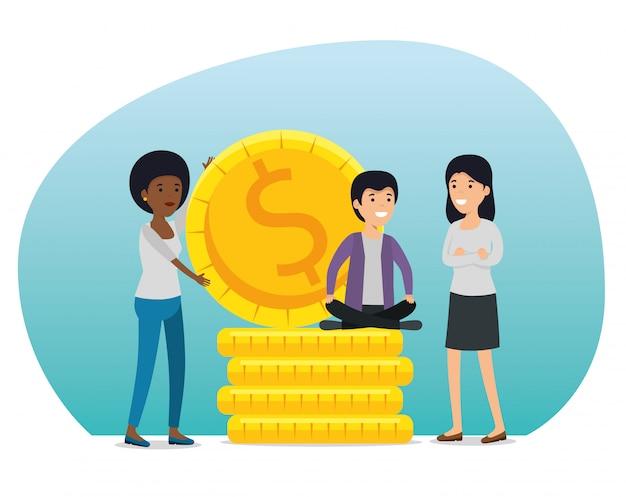 Frauen und junge mit münzen und gesellschaftskooperation