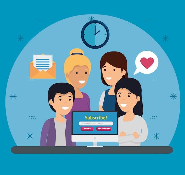 Frauen und jungen mit computer und sozialem profil