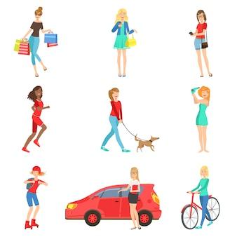 Frauen und mädchen verschiedene lifestyle-aktivitäten eingestellt