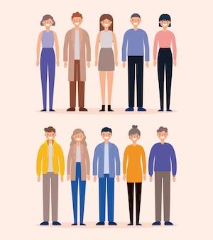 Frauen und männer avatare cartoons lächelndes design, person menschen und menschliches thema. Premium Vektoren