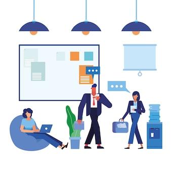 Frauen und männer im bürodesign, in der belegschaft für geschäftsobjekte und im unternehmensthema