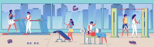 Frauen und männer im trainingsanzug machen übungen im fitnessstudio.