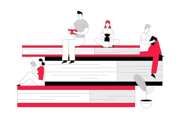 Frauen und männer lesen in der bibliothek und sitzen auf einem riesigen stapel bücher.