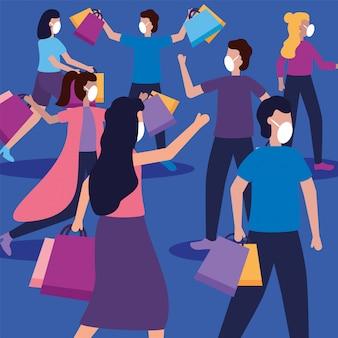 Frauen und männer mit masken und einkaufstaschen