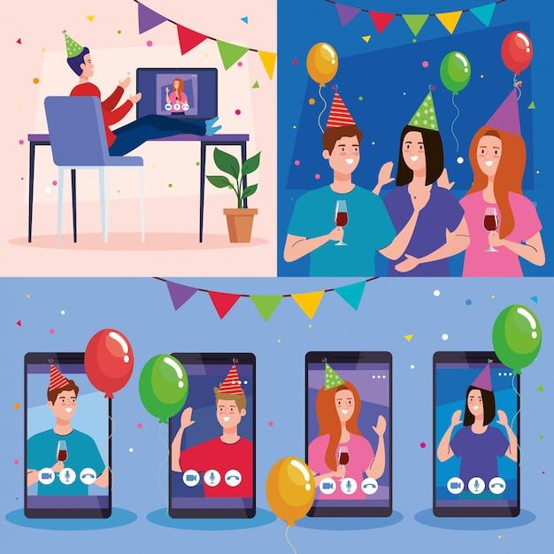 Frauen und männer mit partyhüten und luftballons in videokonferenz