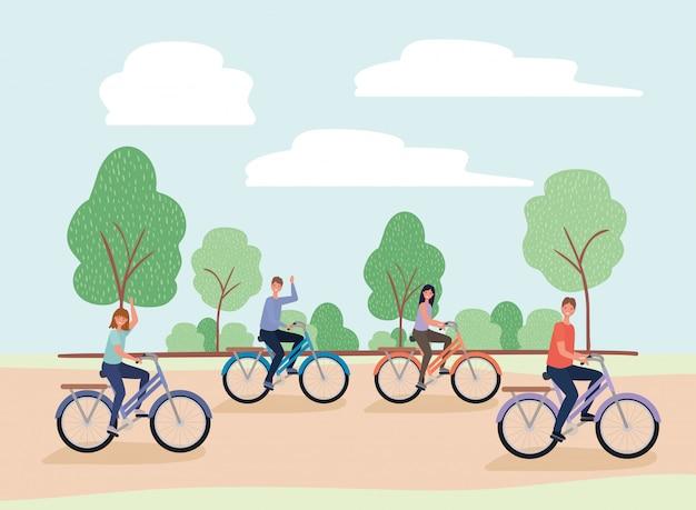 Frauen- und männerkarikaturen, die fahrräder am park reiten