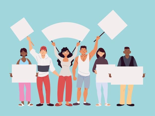 Frauen- und männerkarikaturen mit bannertafeln, manifestationsprotest und demonstrationsthemaillustration