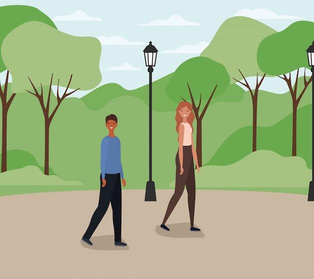 Frauen- und mannkarikatur, die am park mit lampenvektorentwurf geht