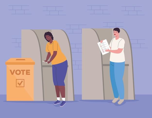 Frauen- und mannkarikaturen im stand mit abstimmungspapierentwurf, wahlwahltag und regierung