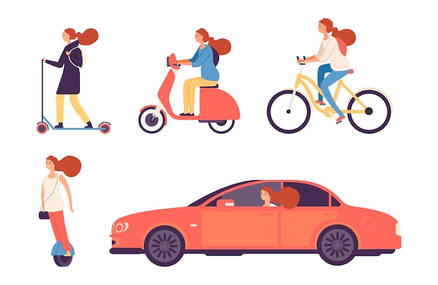 Frauen und transport. mädchen fahrrad und roller, im auto. isolierter weiblicher fahr- und reitvektorsatz. städtischer fahrer, reise, die weibliche illustration fährt