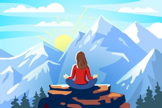 Frauen- und yoga-meditation und retreat in den bergen erfreuen sie sich an der eroberung der gipfellandschaft