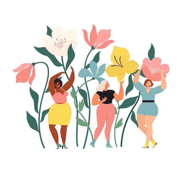 Frauen unterschiedlicher ethnischer herkunft wundern sich über die riesigen frühlingsblumen. frühlingsstimmung stimmung. internationaler frauentag.