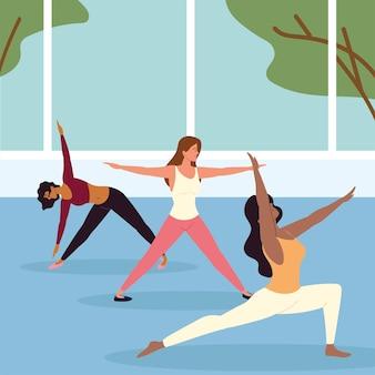 Frauen verschiedene yoga-posen