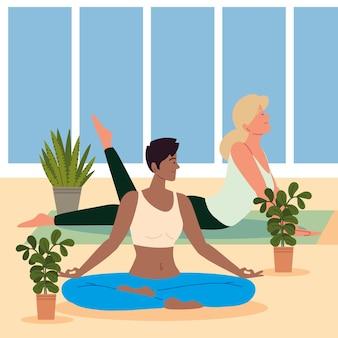 Frauen verschiedene yogapositionen