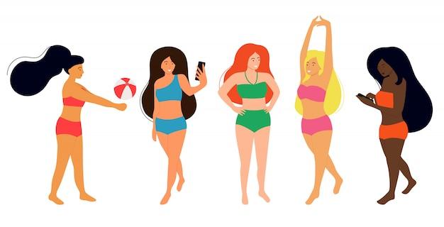 Frauen verschiedener nationalitäten tragen badeanzüge