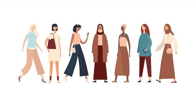 Frauen verschiedener rassen und kulturen. illustration