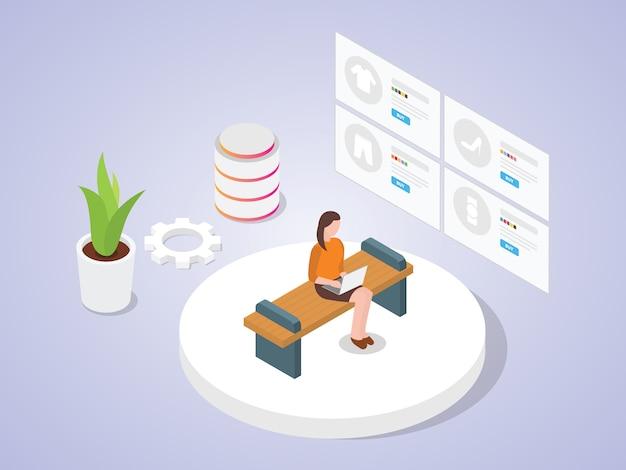 Frauen verwenden laptop-shopping online, indem sie katalog e-commerce-anwendung mit isometrischem design flachen cartoon-stil suchen