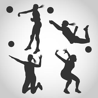 Frauen-volleyball-spieler-schattenbild