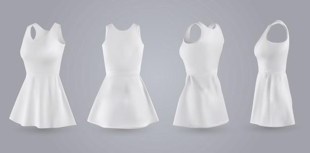 Frauen weißes kleid gesetzt