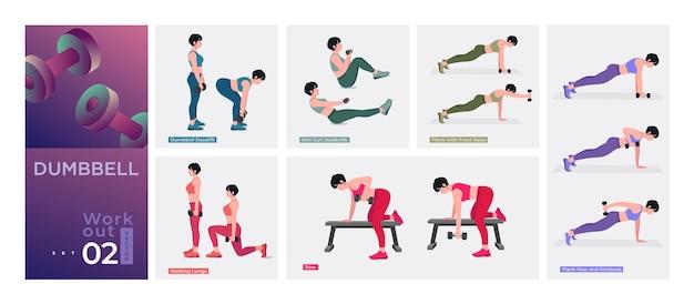 Frauen workout set frauen workout fitness aerobic und übungen