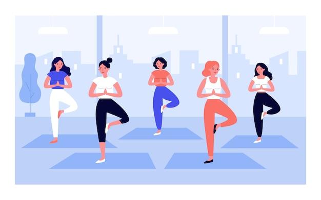 Frauen yoga gruppenillustration