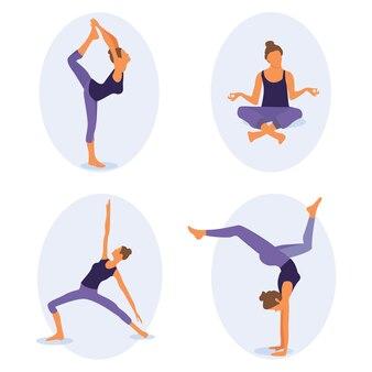 Frauen-yoga. vektor-illustration einer schönen cartoon-frau in verschiedenen yoga-posen.