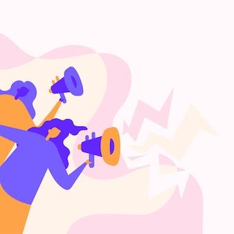 Frauen zeichnen mit ihren megaphonen laut neue ankündigung an die öffentlichkeit. mädchen strichzeichnung mit megaphon, die späte werbung fördert.