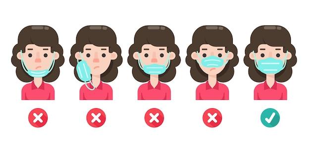 Frauen zeigen den falschen gebrauch von medizinischen masken und zeigen die richtigen wege, um das coronavirus zu verhindern.