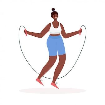 Frauenaktivitäten. mädchen springen mit springseilkarikatur flache vektorillustration.
