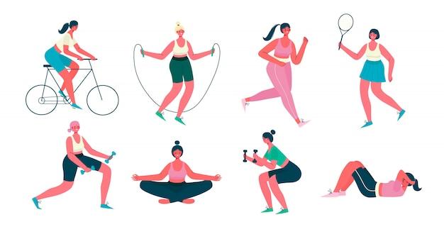 Frauenaktivitäten. satz von frauen, die sport, yoga, fahrradfahren, joggen, springen, fitness tun. gesunder lebensstil, aktives training. flache karikaturillustration lokalisiert auf weißem hintergrund.