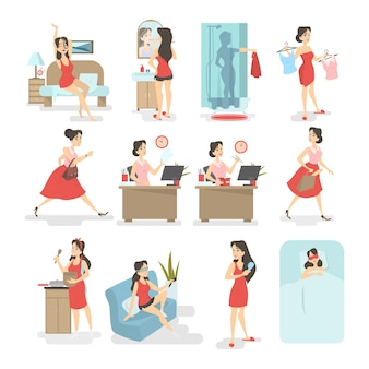 Frauenalltag. aufwachen, frühstücken, duschen, zur arbeit gehen und andere aktivitäten. beschäftigter frauenlebensstil. illustration