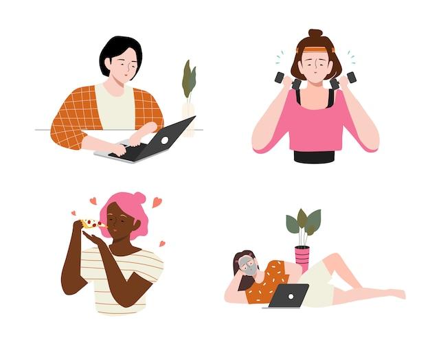 Frauenalltag zu hause illustration. satz von täglichen freizeit- und arbeitsaktivitäten durchgeführt junge frau. mädchen essen, sport treiben, arbeiten und mit dem laptop lernen, sich hinlegen, sich ausruhen und filme schauen