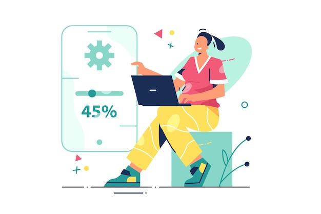 Frauenarbeit an erneuerungsillustration