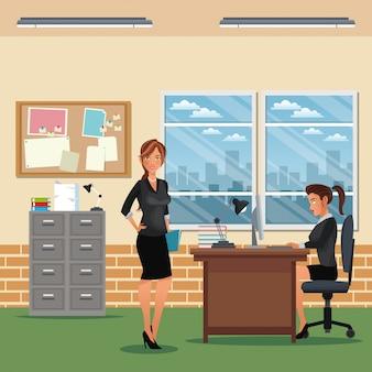 Frauenarbeitsbereich-büroschreibtisch-kabinettbrett-mitteilungsfenster