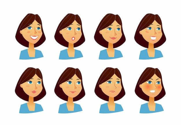 Frauenausdrücke - flache vektorgrafik einer zufälligen person, arbeitgeber, vorgesetzter, kollege, zeichentrickfigur. anzahl der gesichter mit emotionen, freude, freundlichkeit, vertrauen, traurigkeit, mitleid, interesse