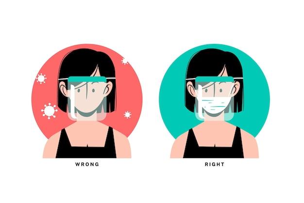 Frauenavatar, der gesichtsschutz und medizinische maske trägt