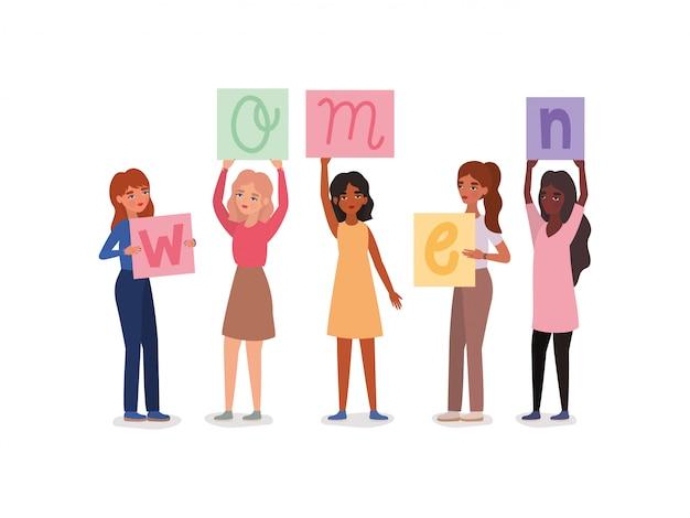 Frauenavatare, die banner halten