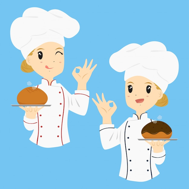 Frauenbäcker-karikaturvektor