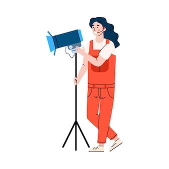 Frauenbeleuchtungsbetreiber mit scheinwerferkarikaturillustration