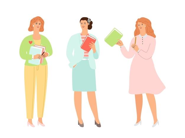Frauenbildung. weibliche charaktere, die bücher halten. dame in eleganten anzügen, die vektorset lernen oder lehren