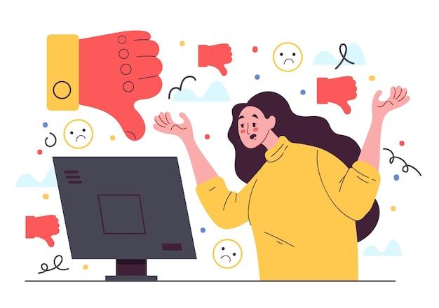 Frauenblogger-charakter erhalten soziale medienabneigung gegen flache designelementillustration