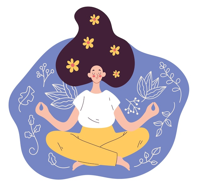 Frauencharakter, der im lotussitz sitzt und flache gestaltungselementillustration entspannt