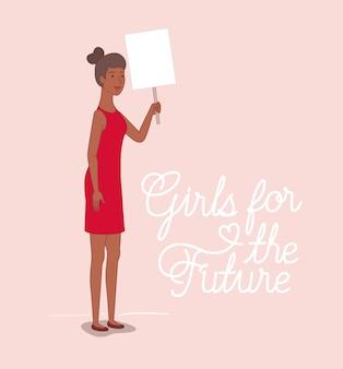 Frauencharakter mit feministischer nachricht