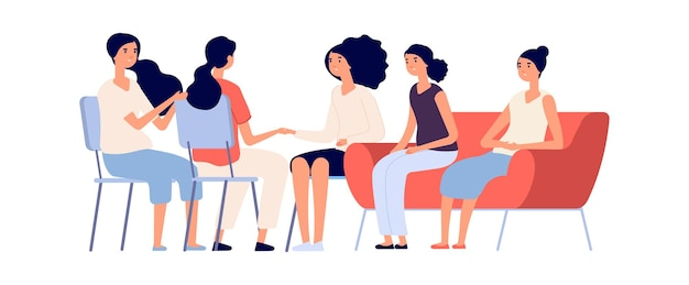 Frauenclub. gruppenpsychotherapie, flache weibliche charaktere zusammen. emotionale unterstützung, freundschaft oder familie. isolierte psychologin, die mädchen-vektorillustration berät. psychologische unterstützung frau