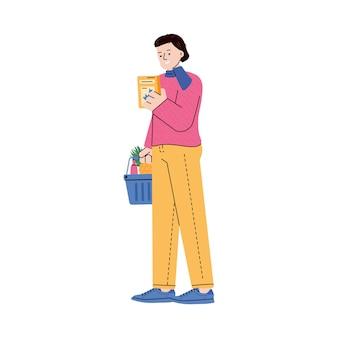 Fraueneinkaufswaren in der flachen karikaturvektorillustration des supermarktes lokalisiert