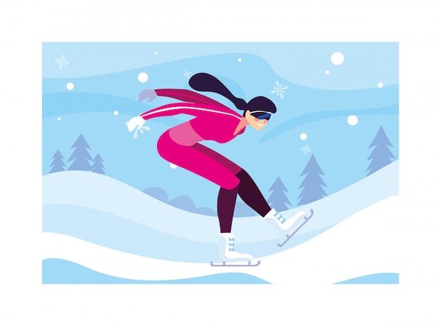 Fraueneislauf in der landschaft des winters